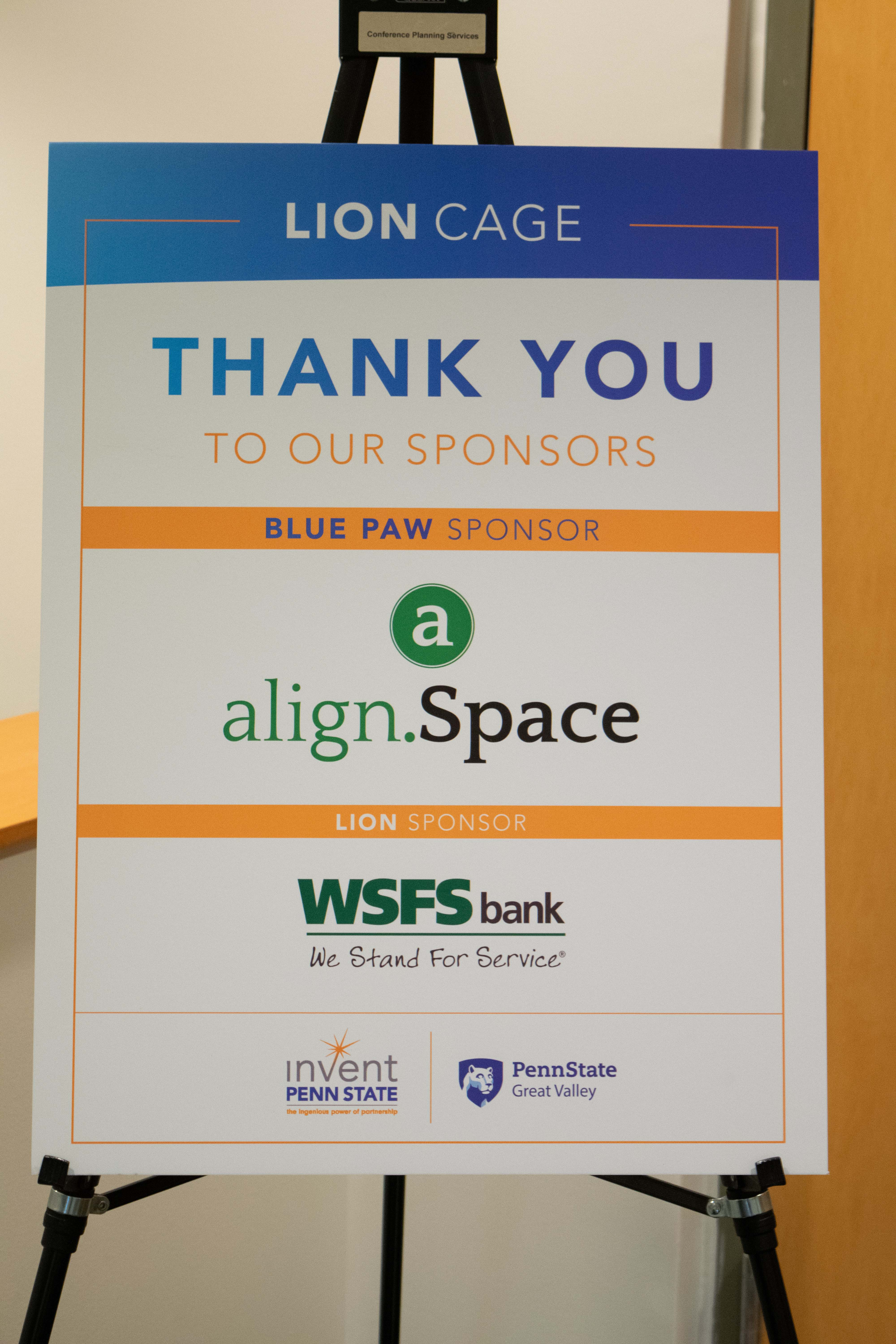 Poster with logos of Lion Cage sponsors