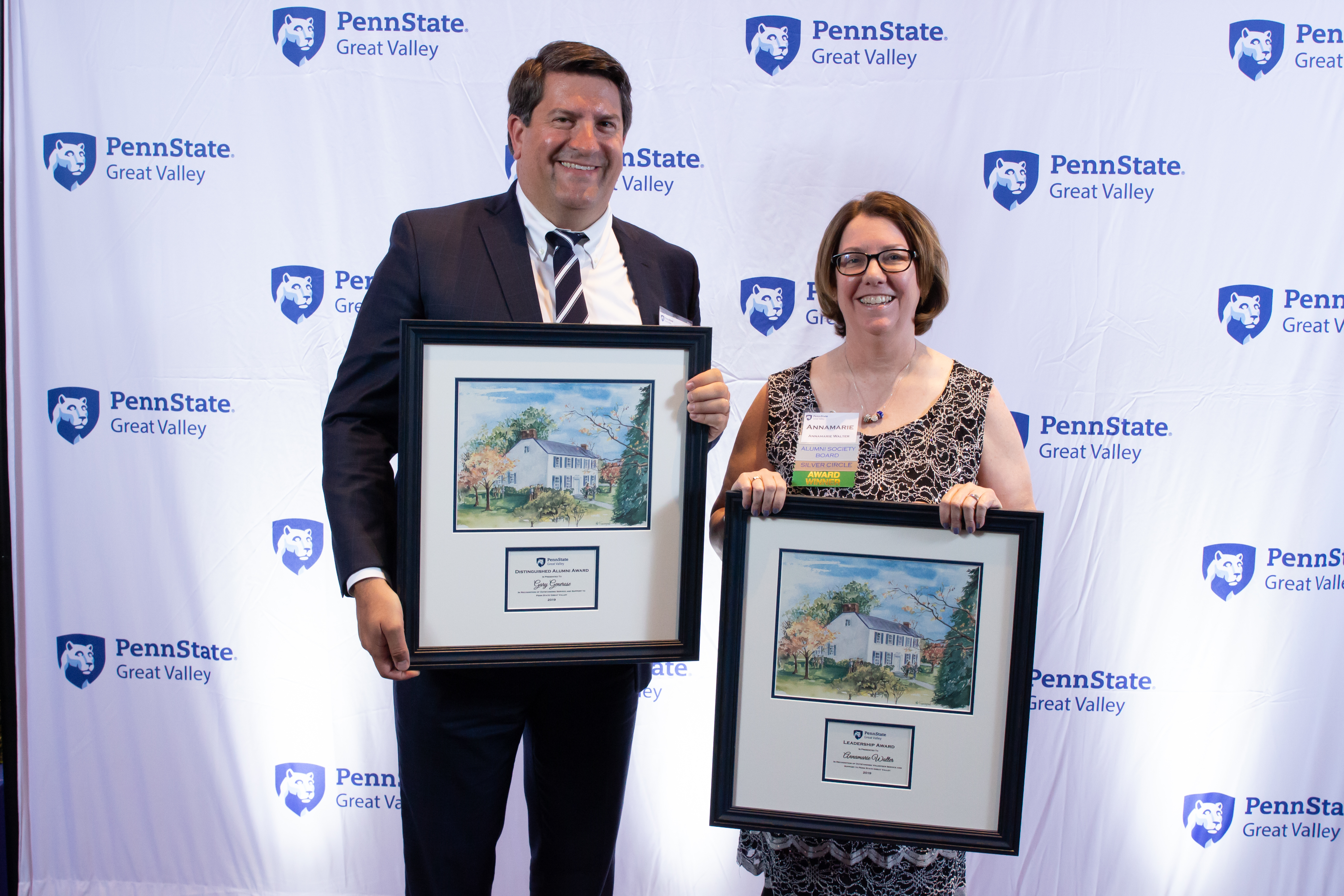 Gary Generose and Annamarie Walter with their awards