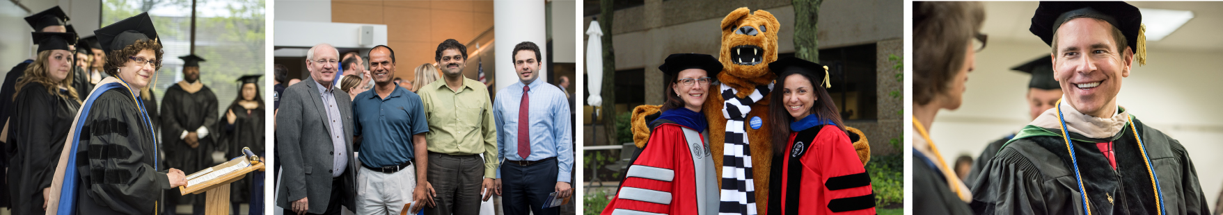 A collage of faculty members at commencement and other special events