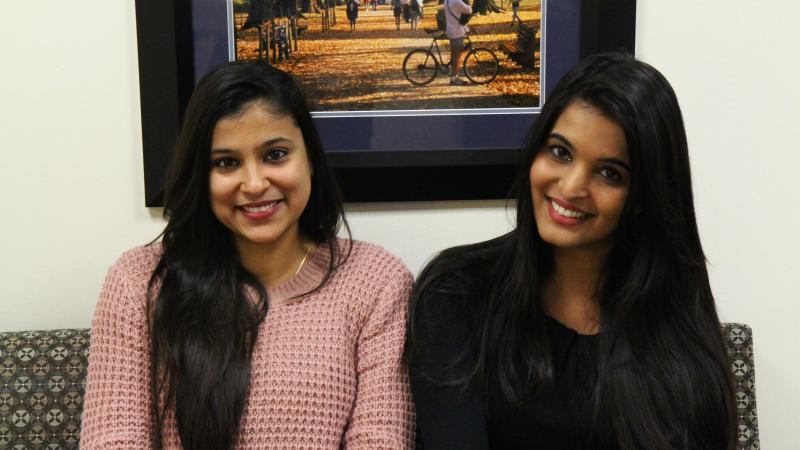 Photo of Ruchika Chari and Malavika Mathur, information science students at Penn State Great Valley