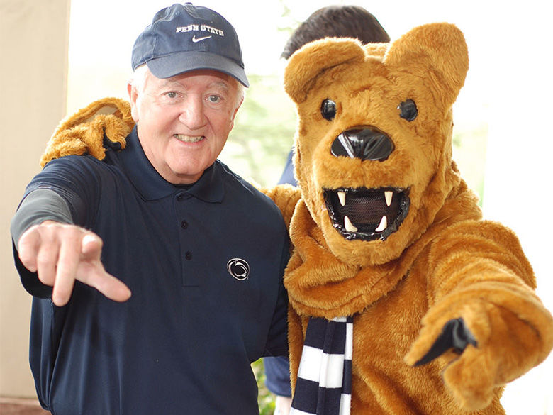 Photo of Dallas Krapf and Nittany Lion mascot