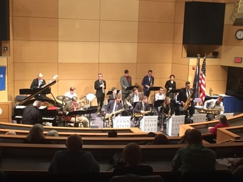 Penn State Jazz Band performing in the Great Valley Conference Center