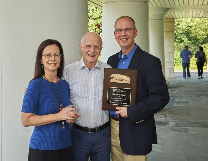 Kathryn Jablokow, professor of engineering design and mechanical engineering, with Jack Matson, professor emeritus within the College of Engineering, and Darrell Velegol, distinguished professor of chemical engineering