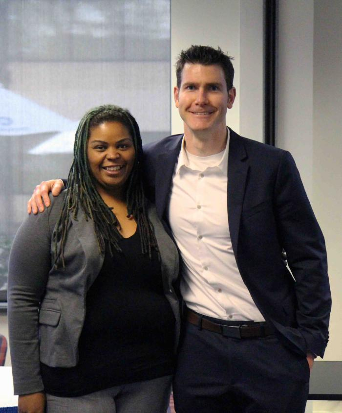 Student Pitch Day winners Lavanetta Quince and Matt Dever
