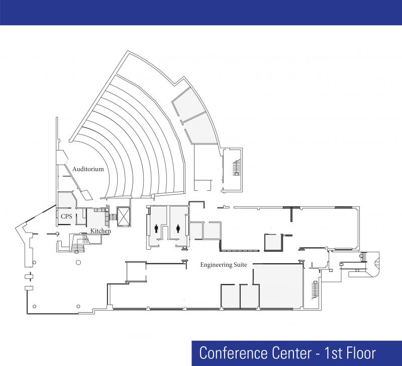 Artist drawing of Conference Building floor plan of first floor