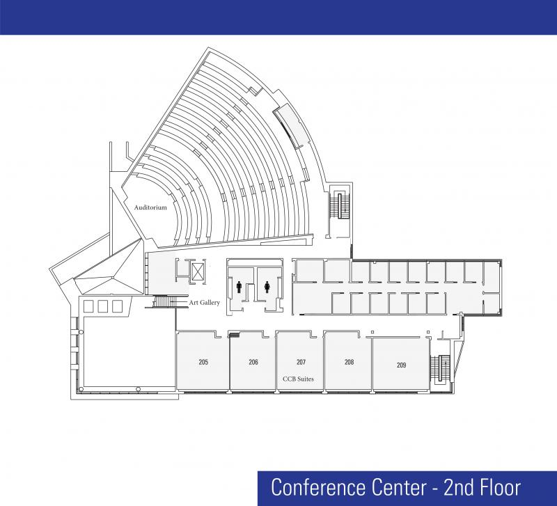 Artist drawing of Conference Building floor plan of second floor