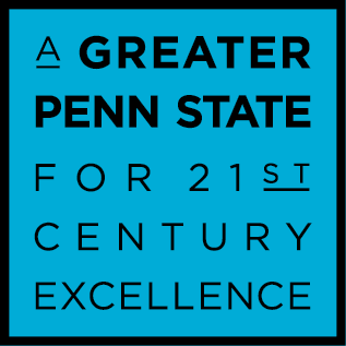 A Greater Penn State Campaign logo on a blue background