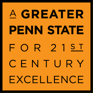 A Greater Penn State Campaign logo on an orange background