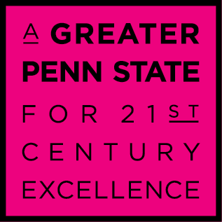 A Greater Penn State Campaign logo on a pink background