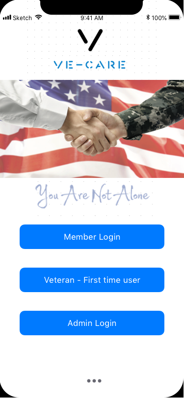 Log-in screen of the Ve-Care app where existing members can sign in or veterans can create a new profile