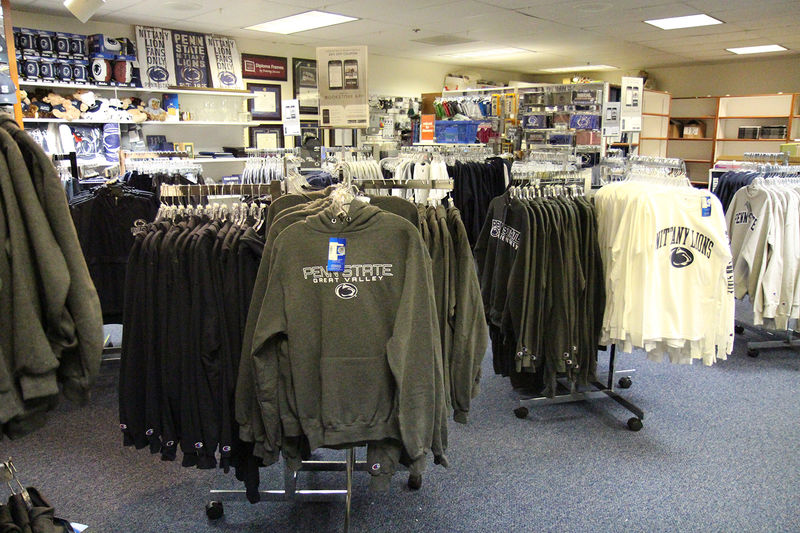 Books and Penn State clothing displayed at the Great Valley bookstore