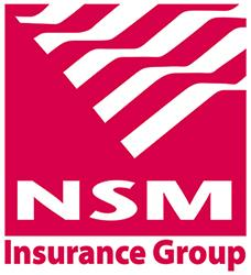 Red and white logo for NSM Insurance Group