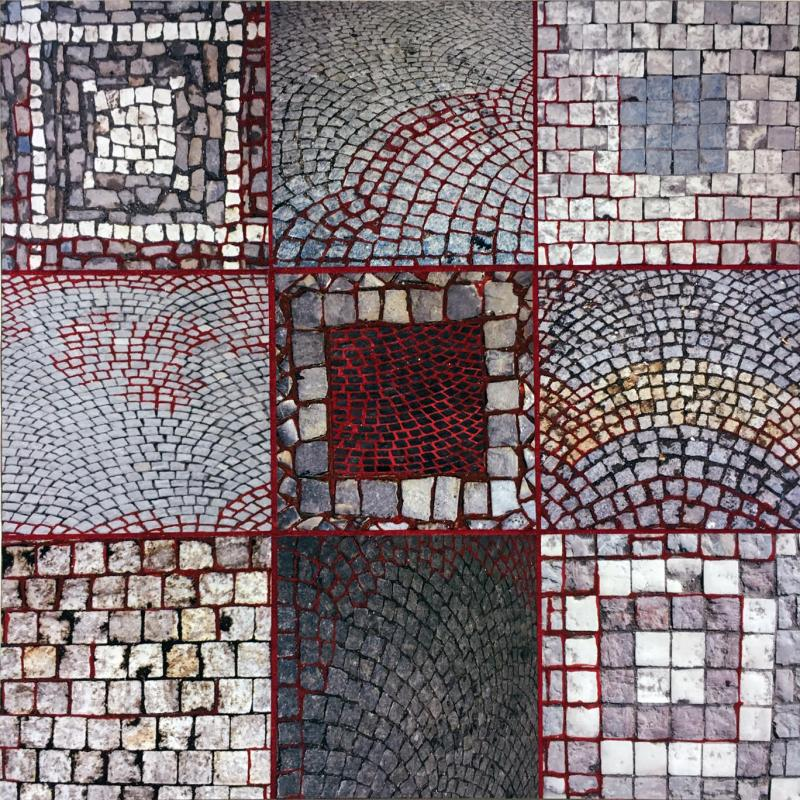 Red Sand-Prague Stones, a mixed media piece by Florence Weisz