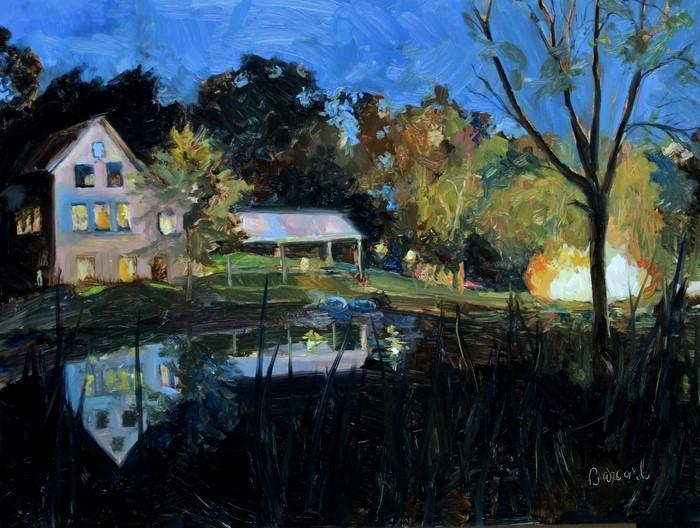 Painting of a house at the edge of a pond at dusk. The reflection of the house is visible in the pond