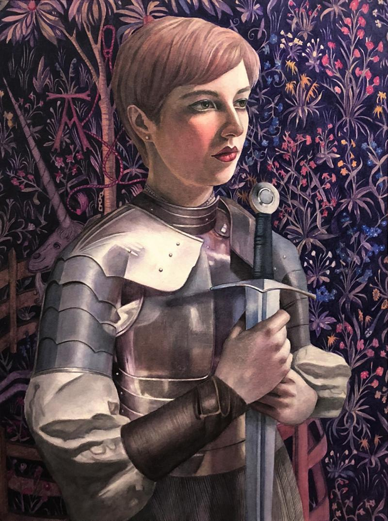 Painted portrait of a woman in armor holding a sword in front of a floral-wallpapered wall