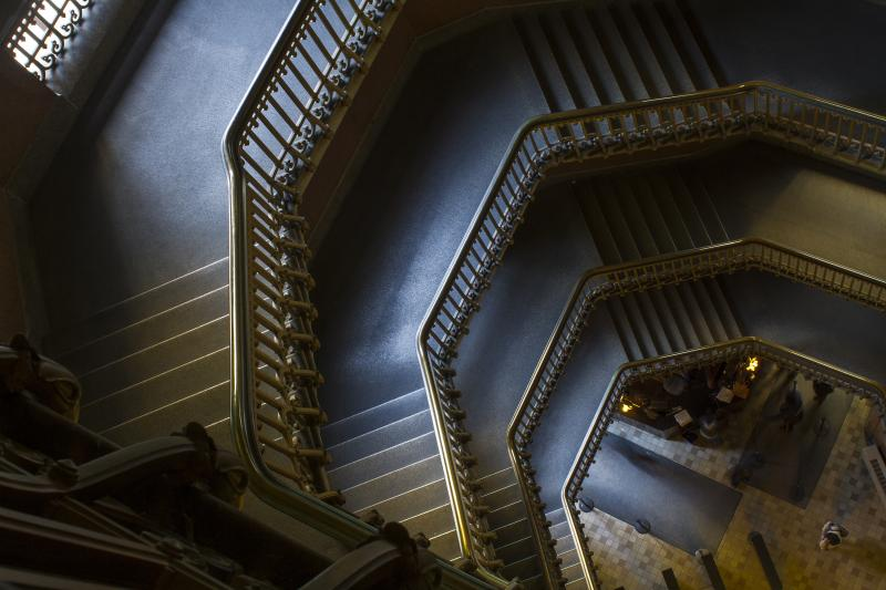 Overhead photo of spiral staircase looking down