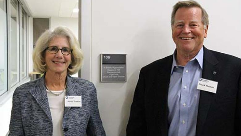 Chuck and Karen Thomas outside the Electronics Lab at Penn State Great Valley