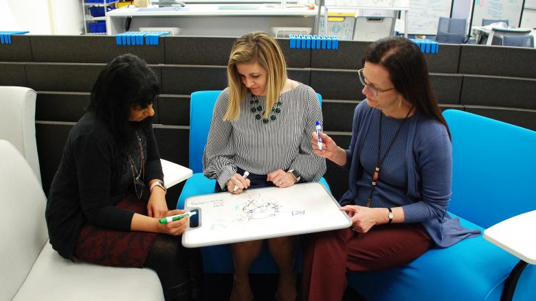 Three women sit in chairs and write on a lap whiteboard