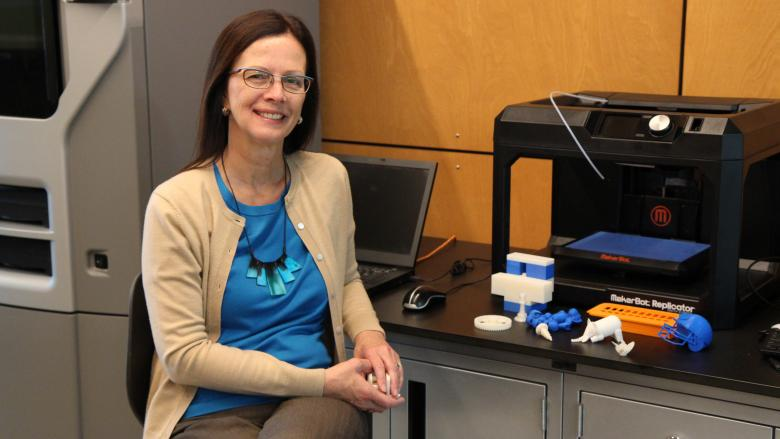 Dr. Kathryn Jablokow seated in Penn State Great Valley's Innovation Suite