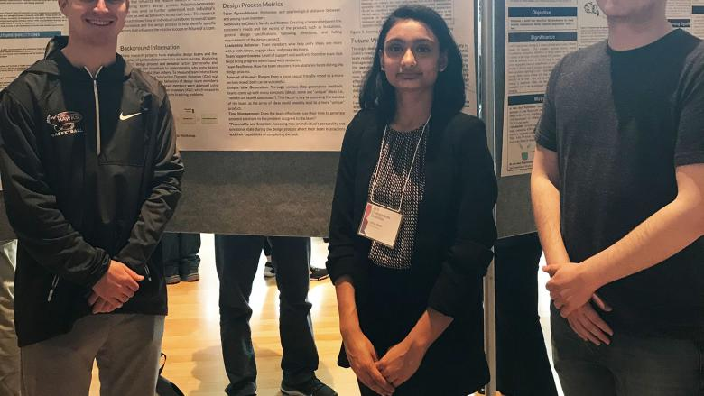 Students in front of poster at research symposium