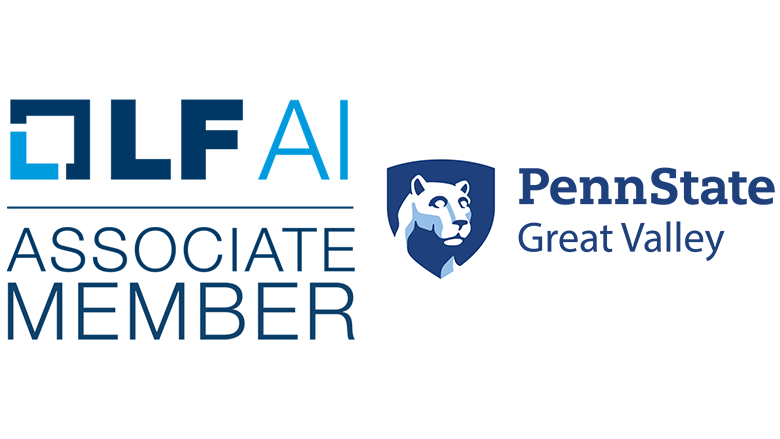 Logos for LF AI associate membership and Penn State Great Valley