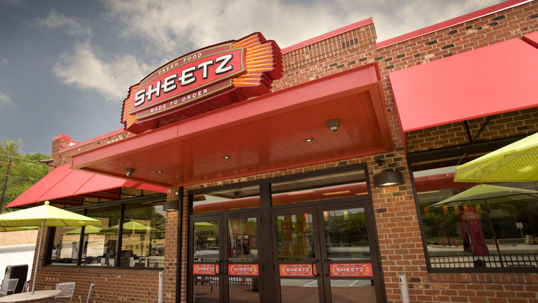 The entrance of a Sheetz convenience store is shown