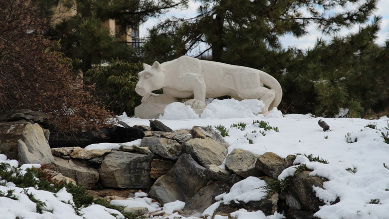 Nittany lion statue in snow