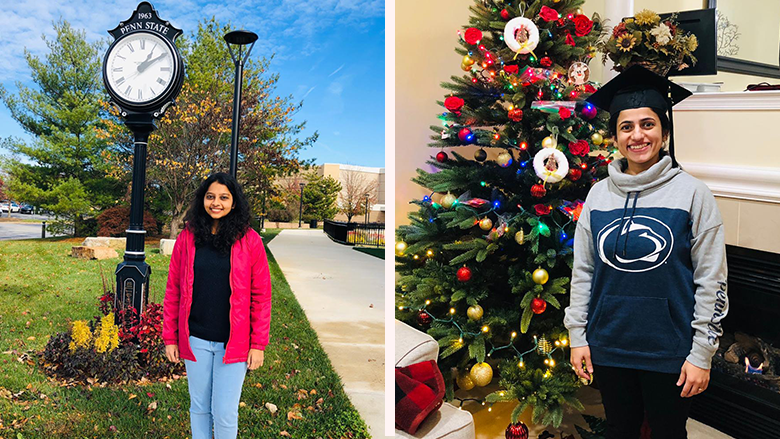 On the left, a female student stands in front of the clock at Penn State Great Valley. On the right, another female student wearing a Penn State sweatshirt and a graduation cap stands in front of a Christmas tree