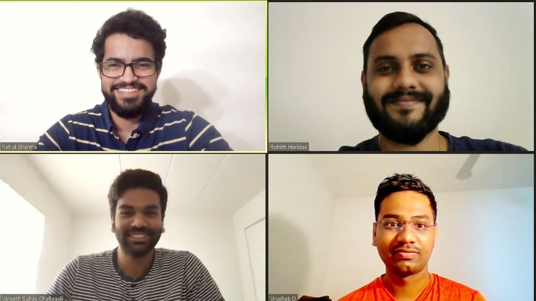 Image from a Zoom call among Vineeth Challagali, Vrushab Dharimane, Rohith Haridas, and Rahul Sharma