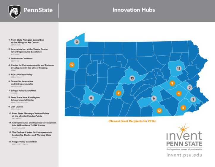 Map of Pennsylvania with Invent Penn State sites